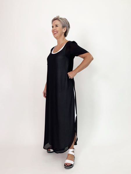 Scoop Neck Over Dress - Black