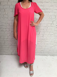 Scoop Neck Over Dress - Candy Pink