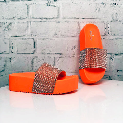 Platform Glitter Slide - Bright Orange