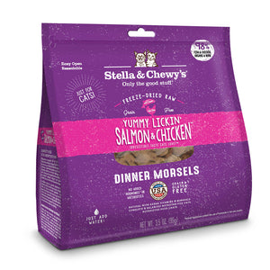 S&C Yummy Lickin' Salmon & Chicken Dinner Morsels. Freeze-dried. 3.5oz