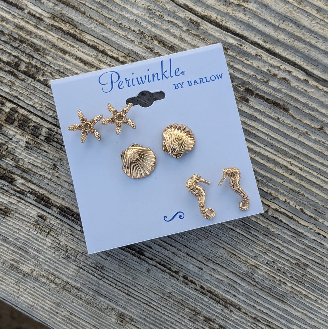 Earrings-Gold Sealife Triple