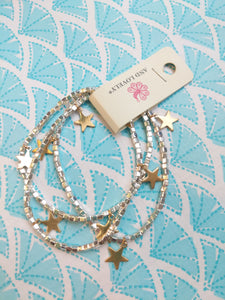 RHOD BEADED STAR STRAND BRCLT