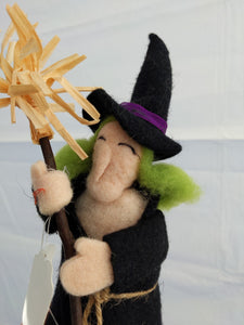 Felt Witch with Broom Wine Topper
