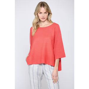 WIDE SHORT SLEEVE SWEATER CORAL