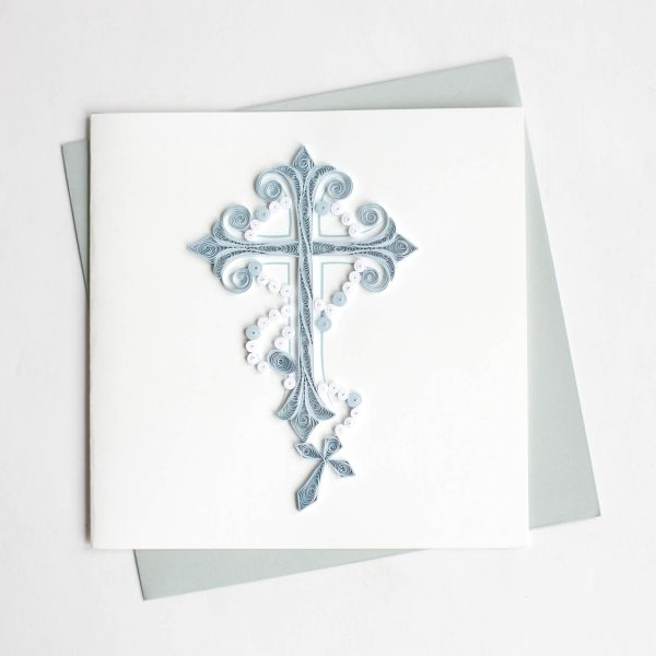Cross and Rosary Quill Card