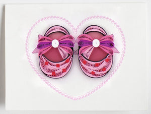 Pink Baby Booties Quill Gift Enclosure