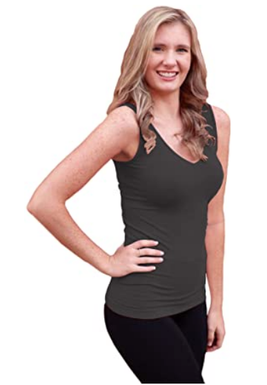 Reversible V-Neck/Scoop Neck Hip-Length Sleeveless Top - Charcoal