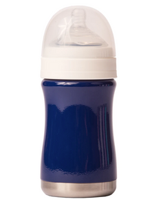 navy blue stainless steel insulated baby bottle