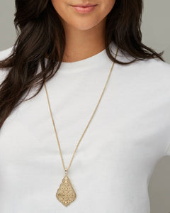 Kendra Scott Aiden Gold Long Pendant Necklace Rose Filigree Mix