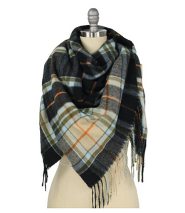 Plaid Blanket Scarf Midnight