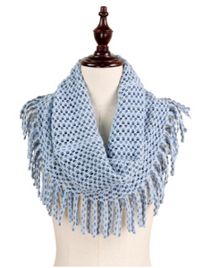 periwinkle blue tube fringe scarf sold edgewater maryland