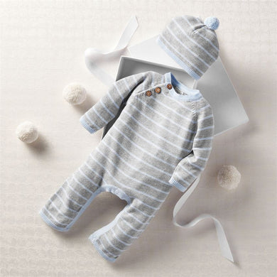 Blue Grey Knitted Gift Set