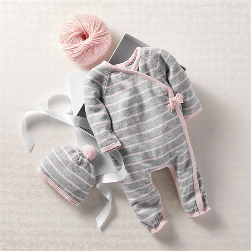 Pink Grey Knitted Gift Set
