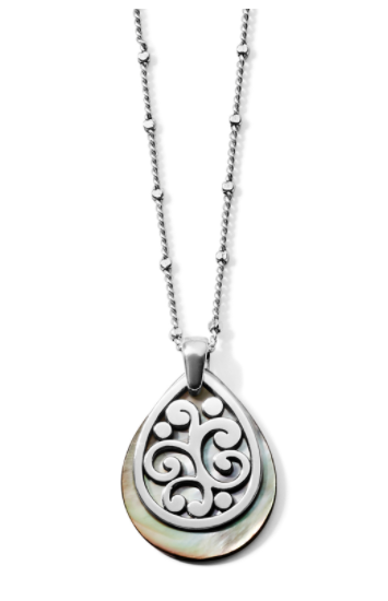 Contempo Shell Blk Teardrop Necklace