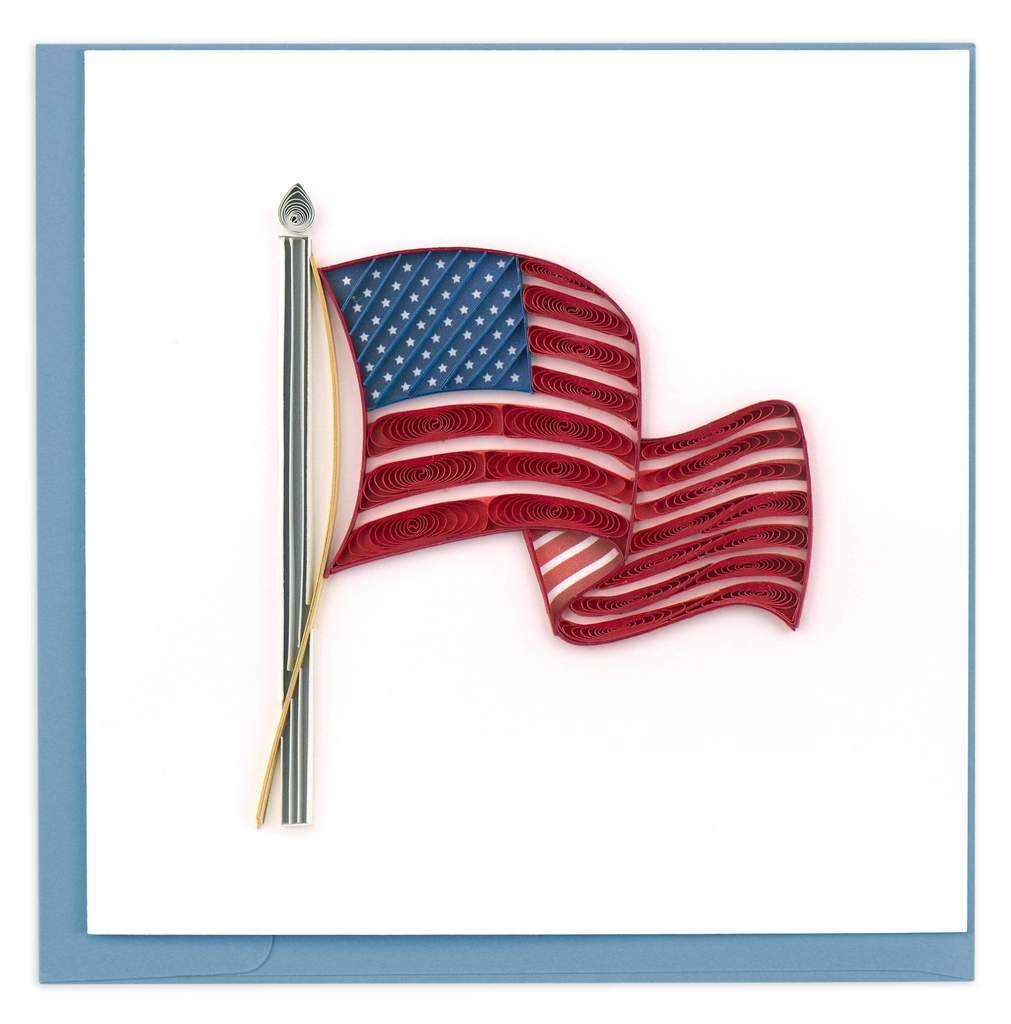 America Flag Quill Card