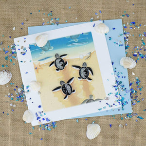 Sea Turtle Hatchlings Quill Card