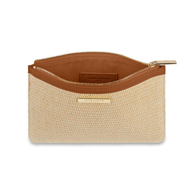 STRAW POUCH | COGNAC AND NATURAL