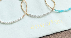 eNewton Gold Bliss 2mm Bead Bracelet - Available In Three Gemstones