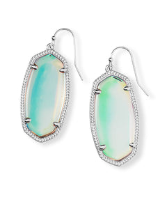 Kendra Scott Elle Silver Drop Earrings in Dichroic Glass