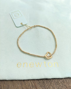 eNewton Classic Gold 2mm Bead Bracelet - Love Gold Charm