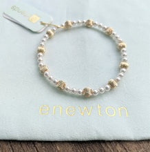 eNewton Extends Dignity Gold Sincerity Pattern 6mm Bead Bracelet - Available in Four Gemstones