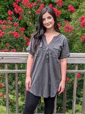 Gray Shirt Dress