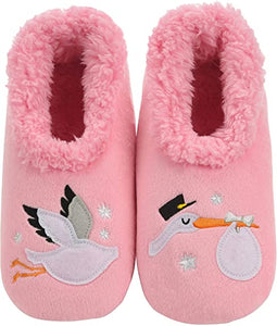 Snoozie Slippers - Pink Stork (Various Sizes)