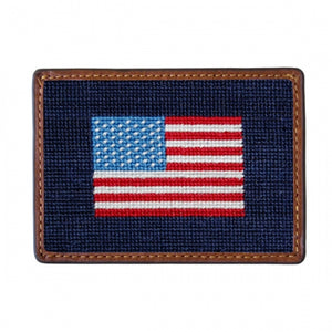 S&M American Flag Needlepoint Card Wallet