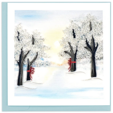 Snow Covered Trees Quill Cards