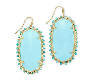 Danielle Gold Beaded Statement Earrings In Light Blue Magnesite