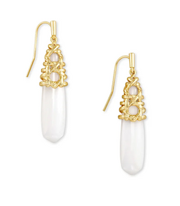 Natalie Gold Drop Earrings In White Mussel