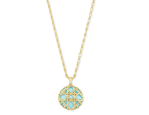 Natalie Gold Long Pendant Necklace In Light Blue Magnesite