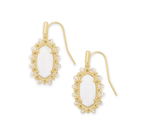 Beaded Lee Gold Drop Earrings In White Mussel