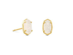 Emilie Gold Stud Earrings In Iridescent Drusy
