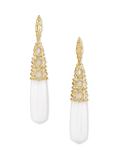 Natalie Gold Linear Earrings In White Mussel