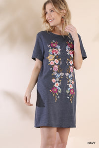 FLORAL EMBROYERED TEE DRESS