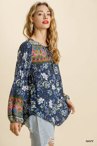 NAVY FLORAL BORDER TOP