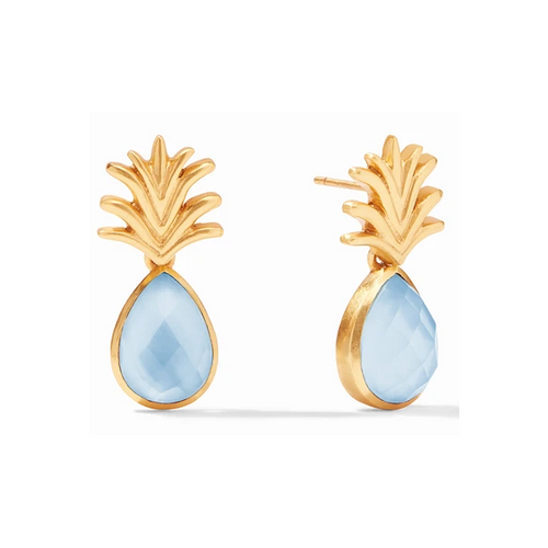 Pineapple Demi Earring | Iridescent Chalcedony Blue