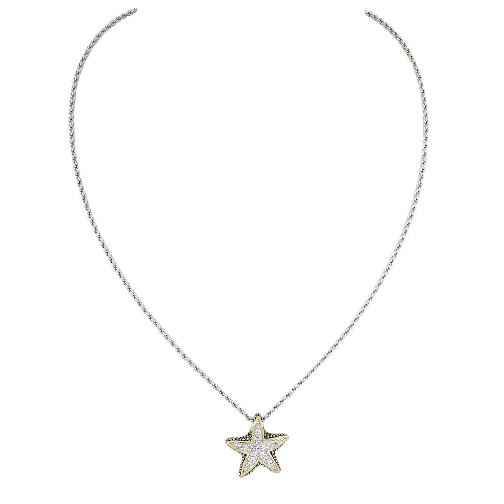 John Medeiros Small Pave Starfish Slider with Chain