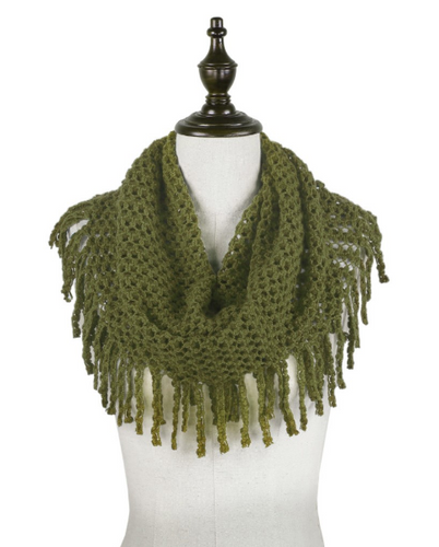 OLIVE TUBULAR MINI WITH FRINGE