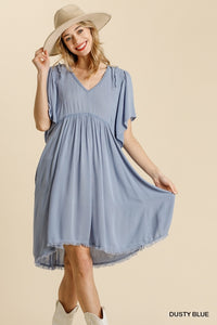 DUSTY BLUE FRAYED HEM DRESS
