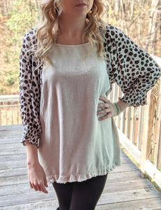 Animal Print with Cinched Cuff Top