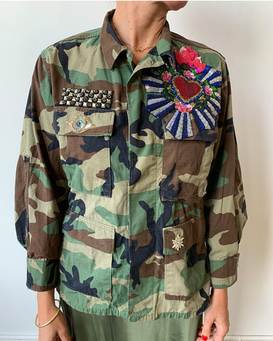 Military Jacket with Heart Patch