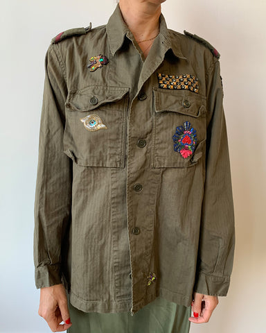 Military Jacket with Hamsa