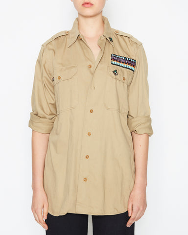 Military Jacket Beige with Owl