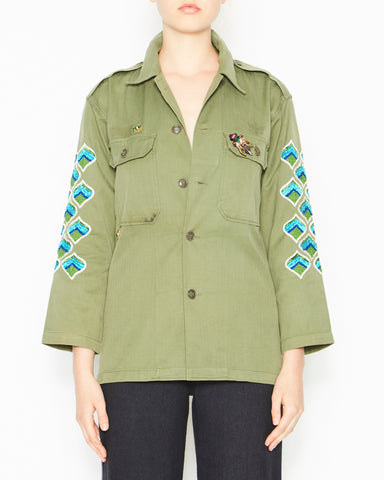 Military Jacket with Sleeves Hand and Eye