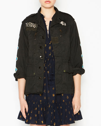 Military Jacket Black with Sleeves and Owl
