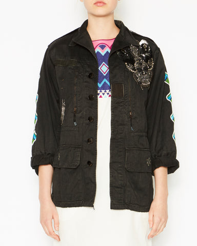Military Jacket Black with Sleeves and Bug