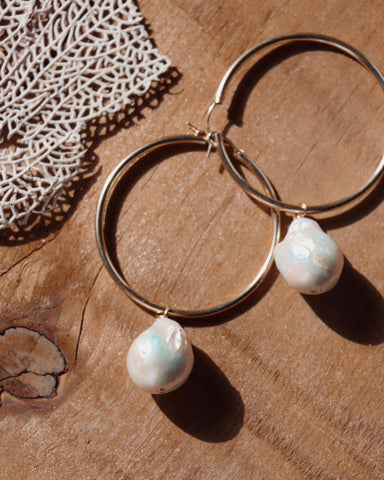 Beck Jewels Mauve Pearl XL Hoops