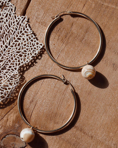 Beck Jewels Mother Of Pearl XL Hoops